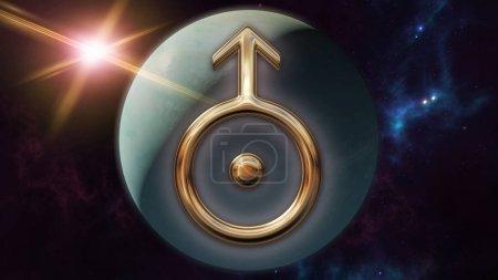 Photo pour Image de rendu 3D d'un symbole d'horoscope de zodiaque de Uranus or brillant. Un signe de l'astrologie sur le premier plan et le globe de la planète d'Uranus derrière elle. Une scène avec un fond futuriste cosmos mystique. - image libre de droit