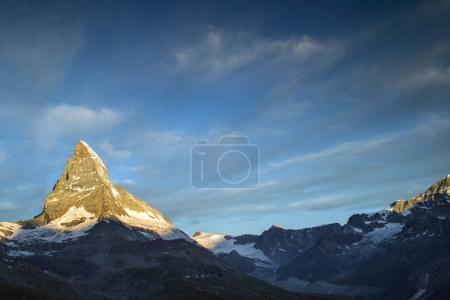 Photo for Dawn, sunrise scene of the amazing matterhorn mountain in the Swiss Alps. - Royalty Free Image