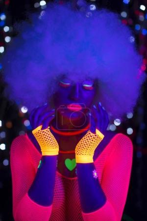 glow uv neon sexy disco female cyber doll robot electronic toy