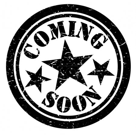 Coming soon black and white stamp