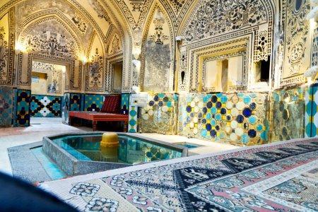 Blur in iran  kashan   islamic hammam carpet and f...