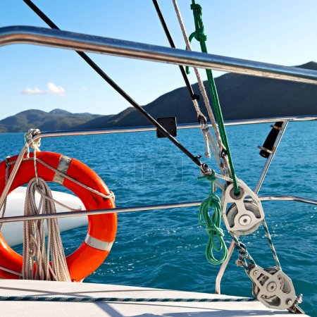 lifebuoy in the boat in the ocean, concept of safety