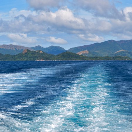 Photo for Blur  in  philippines   a view from  boat  and the pacific ocean  mountain background - Royalty Free Image