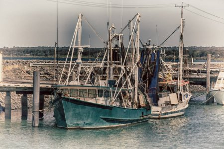 Photo for In  australia fraser island and the boat in the pier near ocean - Royalty Free Image