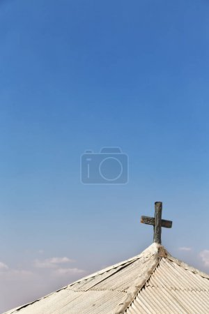 in  danakil ethiopia africa    the cross in the old church and empty sky