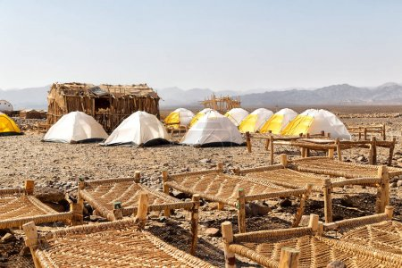danakil  ethiopia africa  in the  national park camping for tourist and typical oitside wooden bed made of wicker