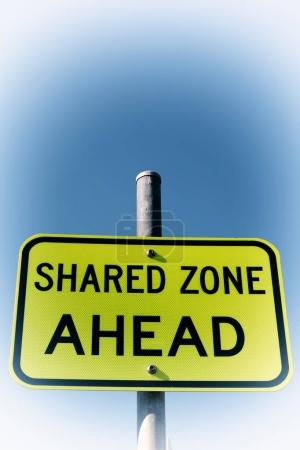 Photo for In  australia   the sign of shared zone ahead concept of safety in the empty sky - Royalty Free Image