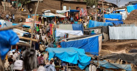 ETHIOPIA,LALIBELA-CIRCA  JANUARY 2018--unidentified people in the market during the genna celebratio