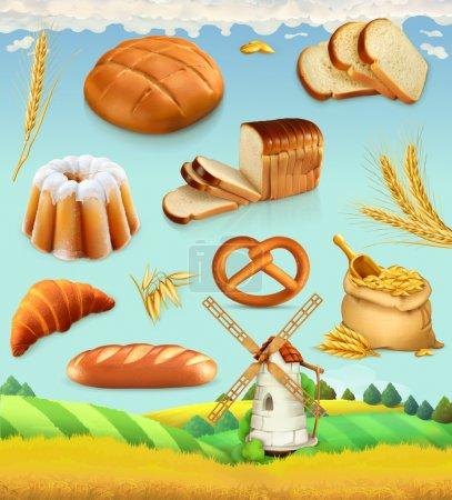Illustration pour Ferme. Blé et pain. Ensemble de vecteurs 3d alimentaire - image libre de droit