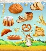 Farm Wheat and bread Food 3d vector set