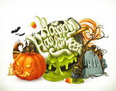 Halloween 3d vector emblem Set of cartoon characters and objects greetings text Happy Halloween for flyers and posters