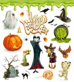 Halloween 3d vector icons Pumpkin ghost spider witch vampire candy corn Set of cartoon characters and objects greetings text Happy Halloween for invitation cards and posters