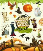 Halloween 3d vector illustrations Pumpkin ghost spider witch vampire zombie grave candy corn Set of cartoon characters and objects greetings text Happy Halloween for invitation cards and pos