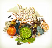 Halloween 3d vector invitation Pumpkin witch vampire candy corn Set of cartoon characters and objects greetings text Happy Halloween for flyers and posters