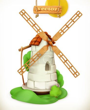 Mill. Windmill 3d vector icon