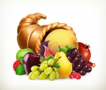 Horn of plenty. Harvest fruits.Cornucopia. 3d vector icon