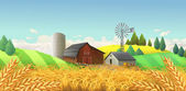 Wheat field Farm landscape Vector background