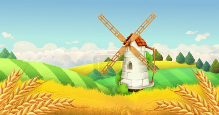 Illustration for Wheat field. Windmill landscape. Horizontal background, vector - Royalty Free Image