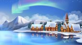 Winter landscape Christmas cottages Festive Christmas decorations New Year background 3d vector illustration