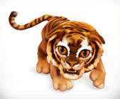 Tiger cub Funny animal 3d vector icon