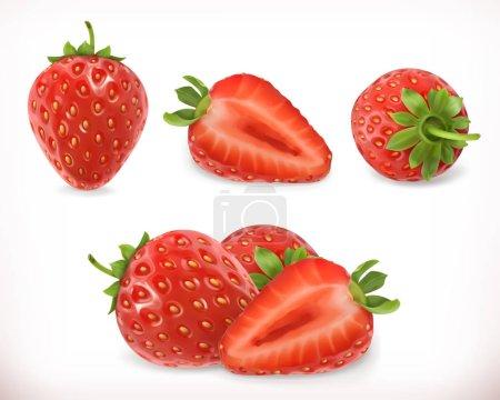 Illustration pour Fraise. Des fruits doux. Ensemble d'icônes vectorielles 3D. Illustration réaliste - image libre de droit