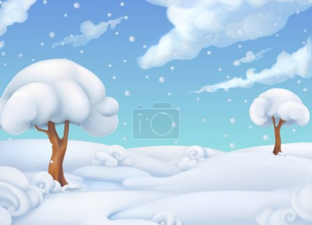 Christmas background. Winter landscape. 3d vector illustration