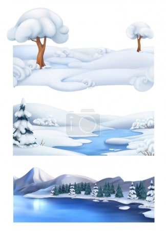 Christmas background. Winter landscape. 3d vector banner set