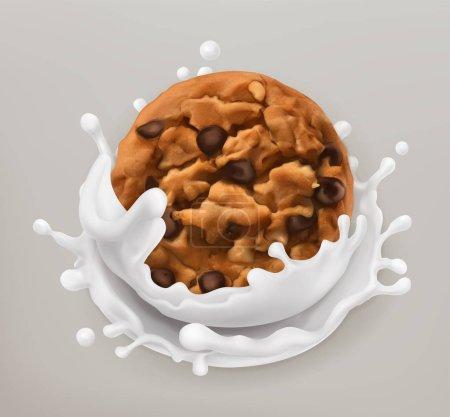 Illustration pour Biscuits au chocolat et éclaboussures de lait. Illustration réaliste. icône vectorielle 3d - image libre de droit