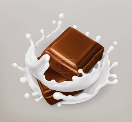Illustration pour Chocolat et éclaboussures de lait. Chocolat et yaourt. Illustration réaliste. icône vectorielle 3d - image libre de droit