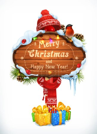 Christmas wooden sign. Merry Christmas and Happy New Year. Holiday 3d vector illustration
