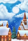 Christmas background Vector illustration Christmas village