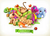Fairy tale animals Happy bunny rabbit cute unicorn small dragon baby elephant monkey chameleon 3d vector