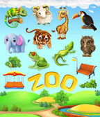 Srandovní zvířecí sada. Slon, žirafa, tygr, chameleon, Tukan, sova, ovce, žába. Zoo 3d vektorové ikony set