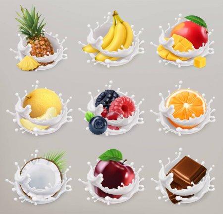 Illustration pour Fruits, baies et yaourt. Mangue, banane, ananas, pomme, orange, chocolat, melon, noix de coco. Ensemble d'icônes vectorielles 3D 2 - image libre de droit
