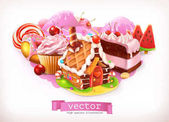 Sweet shop. Pink. Confectionery and desserts, gingerbread house, cake, cupcake, candy. 3d vector illustration
