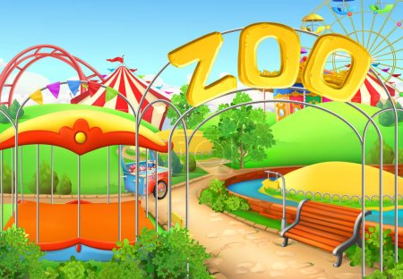 Illustration for Zoo, vector background. Amusement park. Children playground - Royalty Free Image