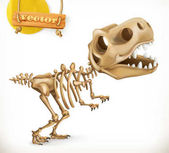 Dinosaur skeleton cartoon character Funny animals 3d vector icon