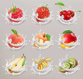 Fruit berries and yogurt Strawberry raspberry cherry pear peach apple mango kiwi grain 3d vector icon set 1