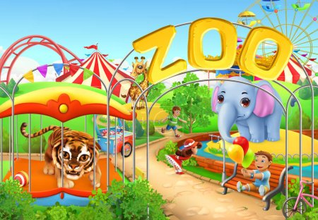Illustration for Zoo. Kids playground. Amusement park. 3d vector illustration - Royalty Free Image