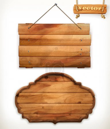 Illustration for Brown wooden boards, old wood vector icons - Royalty Free Image