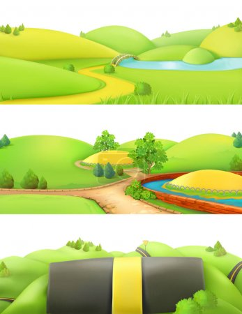 Cartoon game with nature landscape