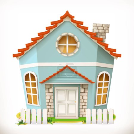 Illustration for Cartoon house, home. 3d vector icon - Royalty Free Image