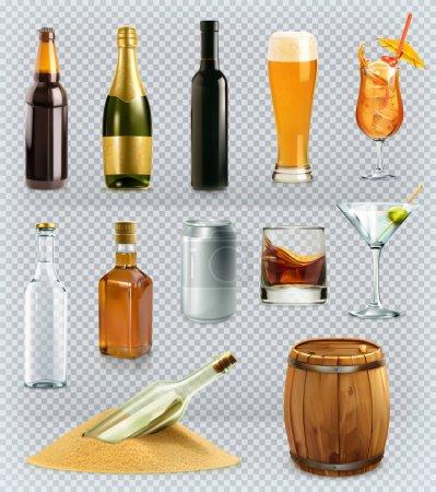 Illustration pour Bouteilles et verres, boisson alcoolisée. Ensemble d'icônes vectorielles 3d - image libre de droit
