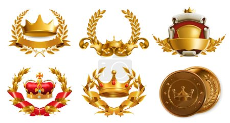 Gold crowns and wreathes