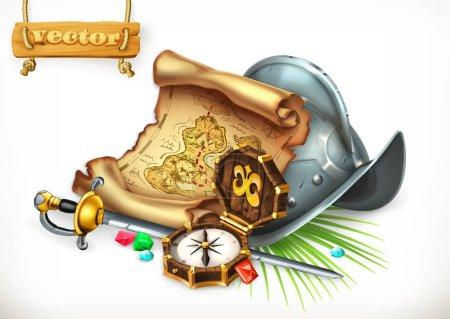 Old treasure map and conquistador helmet. Adventur...