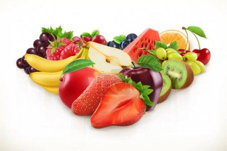 Illustration pour Fraise et fruits juteux, illustration vectorielle isolée sur blanc - image libre de droit