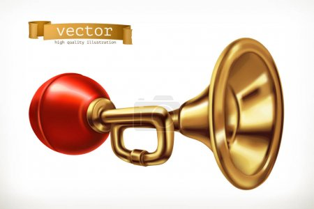 Illustration for Vehicle horn. 3d vector icon - Royalty Free Image