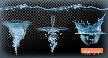 Illustration for Water tornado with transparency, hyperrealism vector set - Royalty Free Image