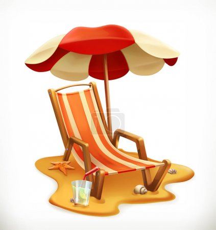 Illustration for Beach umbrella and lounge chair, 3d vector icon - Royalty Free Image