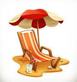 Beach umbrella and lounge chair 3d vector icon